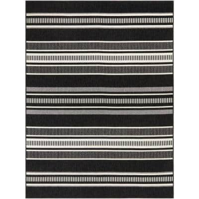 Multi Stripes Black/White 8 ft. x 10 ft. Striped Indoor/Outdoor Area Rug