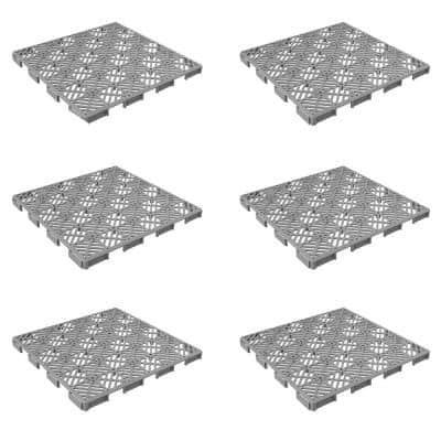 11.5 in. x 11.5 in. Grey Outdoor Interlocking Diamond Pattern Polypropylene Patio and Deck Tiles (Set of 30)