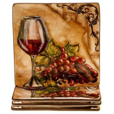 Tuscan View Beige Salad and Dessert Plate (Set of 4)