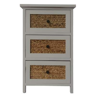 White and Brown 3-Drawer Wooden Accent Cabinet with Corn Husk Weave Front