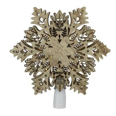8.5 in. Lighted Battery Operated Wooden Snowflake Christmas Tree Topper with Clear Lights