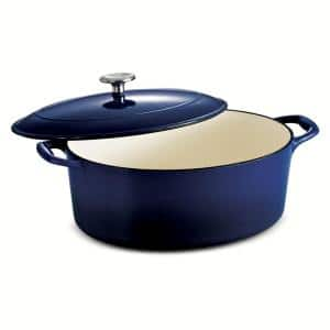 Gourmet 7 qt. Oval Enameled Cast Iron Dutch Oven in Gradated Cobalt with Lid