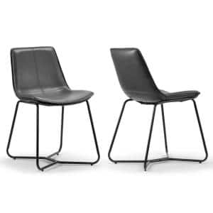 Set of 2 Amery Iron Frame Vintage Grey Faux Leather Dining Chair