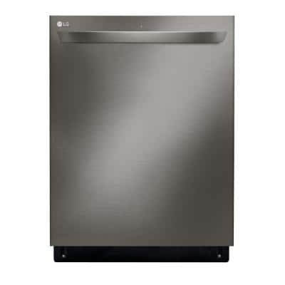 24 in. PrintProof Black Stainless Steel Top Control Built-In Tall Tub Smart Dishwasher with QuadWash & 3rd Rack, 46 dBA