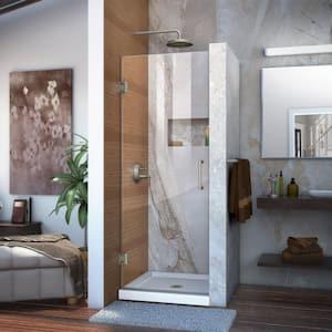Unidoor 26 in. x 72 in. Frameless Hinged Shower Door in Brushed Nickel