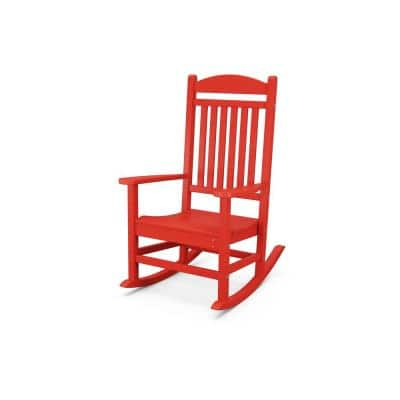 Grant Park Sunset Red Plastic Outdoor Rocking Chair