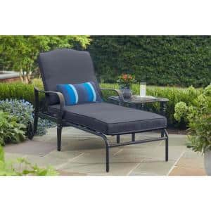 Laurel Oaks Brown Steel Outdoor Patio Chaise Lounge with CushionGuard Sky Blue Cushions