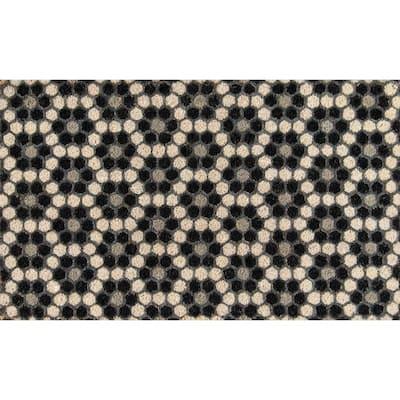 Hex Tile Black 18 in. x 30 in. Door Mat