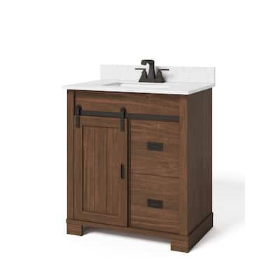 Brindley 30in. W x 21in. D Barn Door Bath Vanity in Dark Walnut w/ Engineered Carrera Vanity Top in White w/ White Basin
