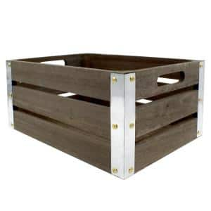 Artskills Project Craft Dark Rustic Wood Crate With Metal Trim For Storage And Décor 11 75 In X 8 In Pa 7231 The Home Depot
