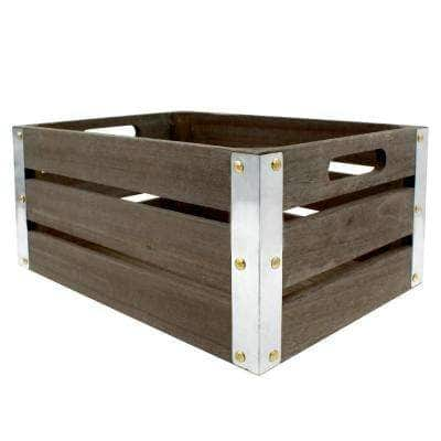 Project Craft Dark Rustic Wood Crate with Metal Trim for Storage and Decor, 13.25 in. x 9.5 in.