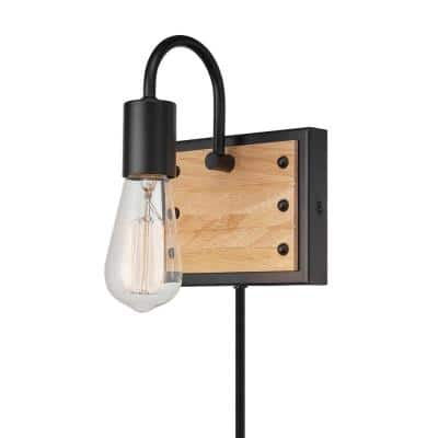 Oakland 6 in. Matte Black Plug-In or Hardwire Wall Sconce with Faux Wood Accent, Black Fabric Cord In-Line On/Off Switch