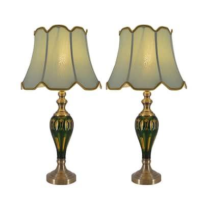Petunia 28 in. Green Indoor Table Lamp (Set of 2)