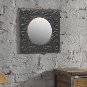 Small Round Black Casual Mirror (11.811 in. H x 11.811 in. W)