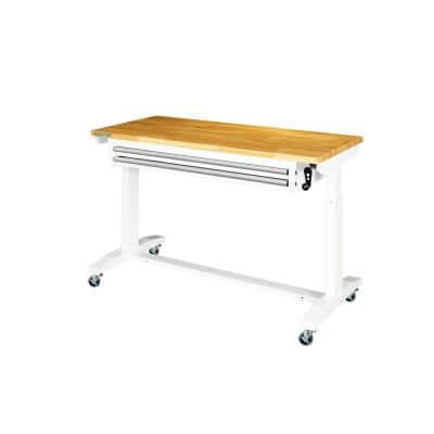 52 in. Adjustable Height Work Table with 2-Drawers in White