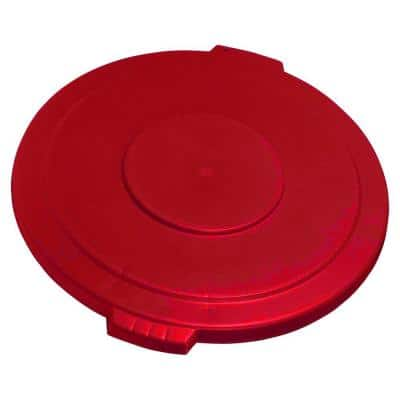 Bronco 20 Gal. Red Round Trash Can Recycle Lid with 8 in. Hole (6-Pack)