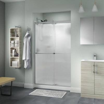 Everly 48 in. x 71 in. Contemporary Semi-Frameless Sliding Shower Door in Nickel and 1/4 in. (6mm) Rain Glass