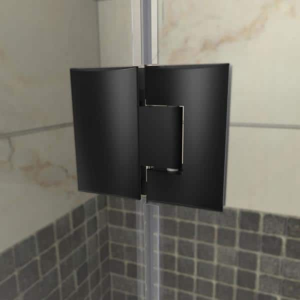Dreamline Unidoor X 58 In W X 30 3 8 In D X 72 In H Frameless Hinged Shower Door In Satin Black E128243430 09 The Home Depot