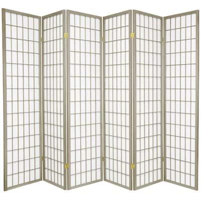 6 ft. Grey Window Pane 6-Panel Room Divider