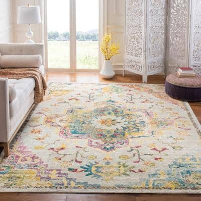 Crystal Light Blue/Gray 9 ft. x 9 ft. Square Area Rug