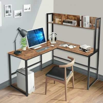 Brown 55 in. Large Industrial Iron Framed L-Shaped Desk Computer Gaming Table