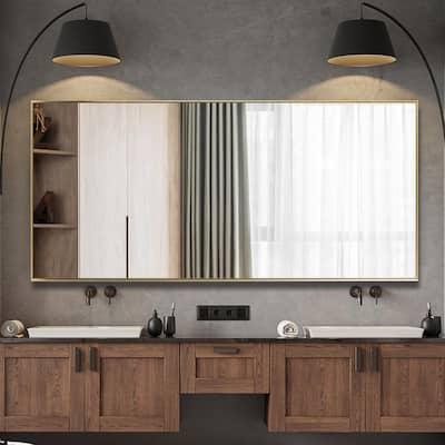 71 in. x 31 in. Oversized Modern Rectangle Metal Framed Bathroom Vanity Mirror