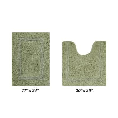 Lux Collection Sage 17 in. x 24 in. and 20 in. x 20 in. 100% Cotton 2-Piece Bath Rug Set