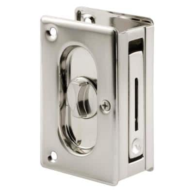3-3/4 in., Solid Brass with Satin Nickel Finish, Pocket Door Privacy Lock and Pull