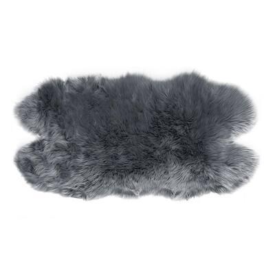 Animal-Hide Shape Grey 3 ft. x 5 ft. Ailsa Faux Sheepskin Fur Area Rug Runner
