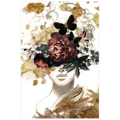 """""""Woman in Garden"""" Frameless Free Floating Tempered Glass with Gold Covered Panel Graphic People Wall Art 48 in. x 32 in."""