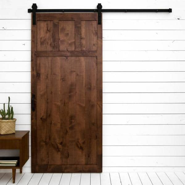 Dogberry Collections 36 In X 84 In Craftsman Walnut Alder Wood Interior Sliding Barn Door Slab With Hardware Kit D Craf 3684 Waln None Hard The Home Depot