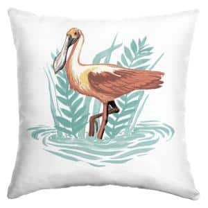 Spoonbill Bird Square Outdoor Throw Pillow (2-Pack)