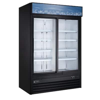 53 in. W 45 cu. ft. Two Sliding Glass Door Commercial Merchandiser Refrigerator Reach In in Black