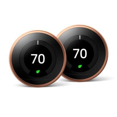 Nest Learning Thermostat 3rd Gen in Copper (2-Pack)