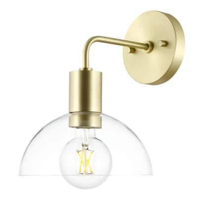 Coubra 10.5 in. Brushed Brass/Clear Wall Sconce with Glass Shade