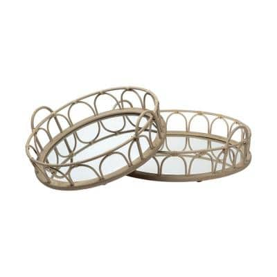 Natural Blonde Wood with Mirrored Glass Bottom Round Tray (Set of 2)