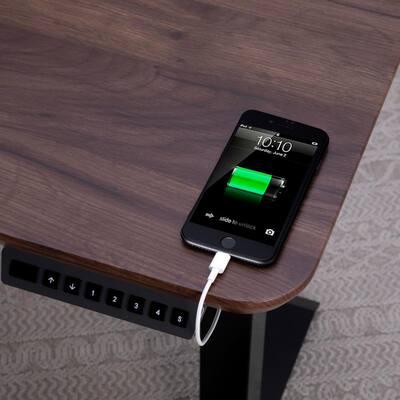 55 in. Rectangular Walnut Standing Desks with Adjustable Height