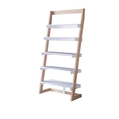 Kurtis 70.75 in. Beige 5-Shelves Ladder Bookcase