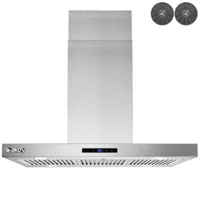 36 in. Convertible Island Mount Range Hood in Stainless Steel with LED Lights, Touch Control Panel and Carbon Filters