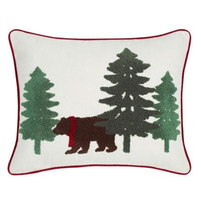 Bear Scene Green 16 in. x 20 in. Throw Pillow