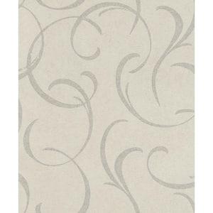 Lysander Silver Scrolls Silver Wallpaper Sample