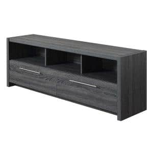 Newport Marbella 60 in. Weathered Gray TV Stand Fits up to 65 in. TV with Drop Down Cabinets