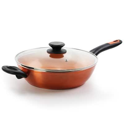Home Cuisine 3 qt. Aluminum Ceramic Nonstick Saute Pan in Copper with Glass Lid