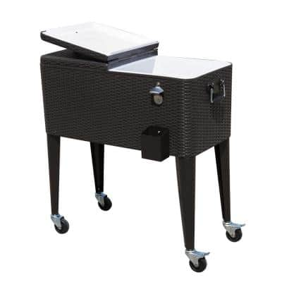 80 Quart Stainless Steel Outdoor Patio Rolling Cooler Cart with 4 Wheels and a Drain with Plug - Dark Brown