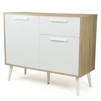 """Stockholm 39""""W White Dining Buffet Table with Storage and Adjustable Shelving"""