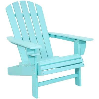 All-Weather Turquoise Outdoor HDPE Recycled Plastic Adirondack Chair with Drink Holder