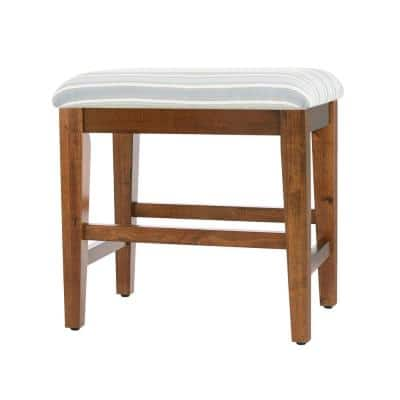 Walnut Finish Upholstered Vanity Stool (21 in W. X 19 in H.)