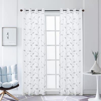 Clarita 108 in.L x 52 in. W Sheer Polyester Curtain in Silver