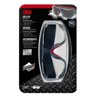 Scotchgard Protector Gray/Red Anti-Fog Goggles with Clear Lens