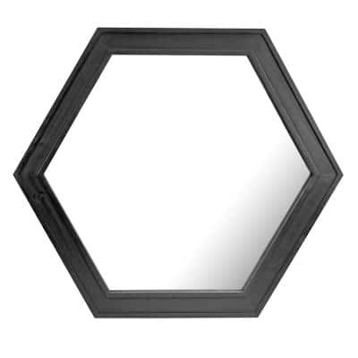 21in x 24in Classic Hexagon Black Wood Framed Accent Mirror